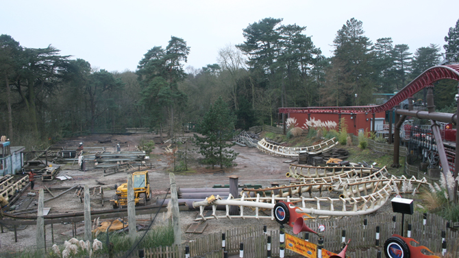 Corkscrew rollercoaster at Alton Towers after dismantling