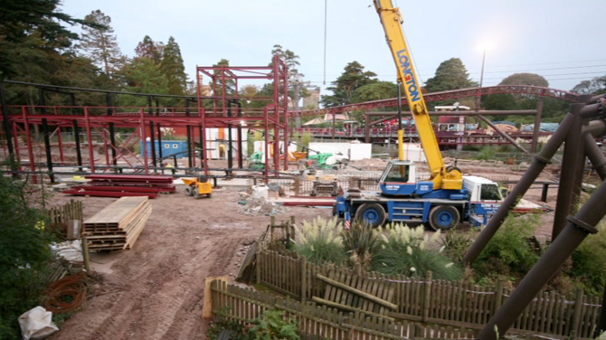 Secret Weapon 6 rollercoaster being constructed at Alton Towers