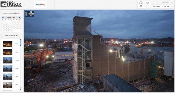 iRis 2.0 screenshot of the demolition at Molson Coors