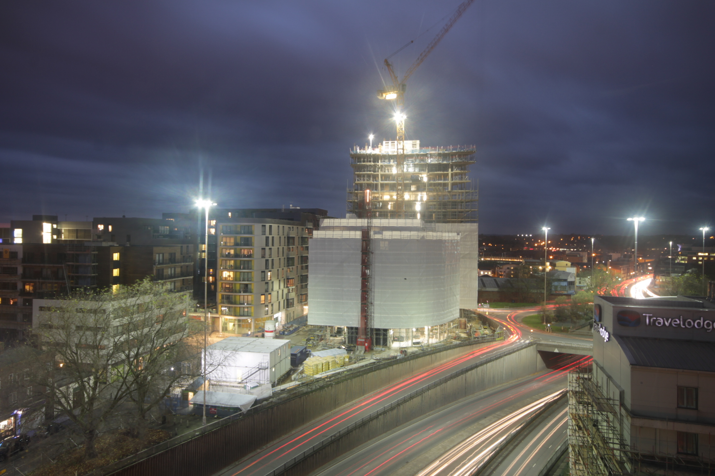 Long-exposure night shot of City Tower at Reading