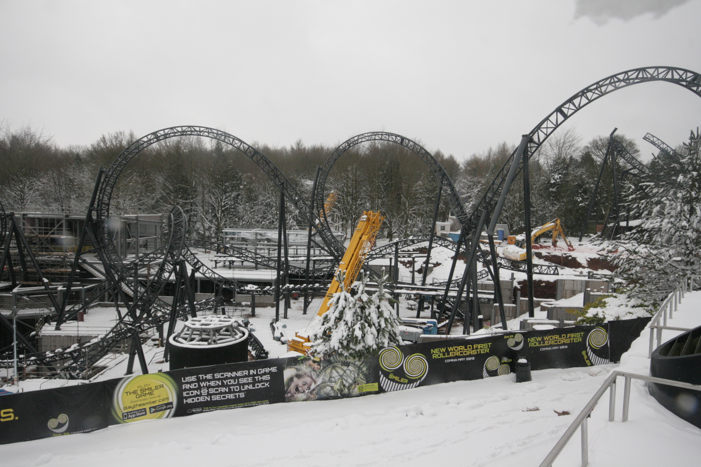 Snow at The Smiler construction site at Alton Towers