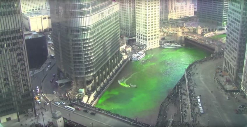 Chicago River being dyed green for St Patrick's Day