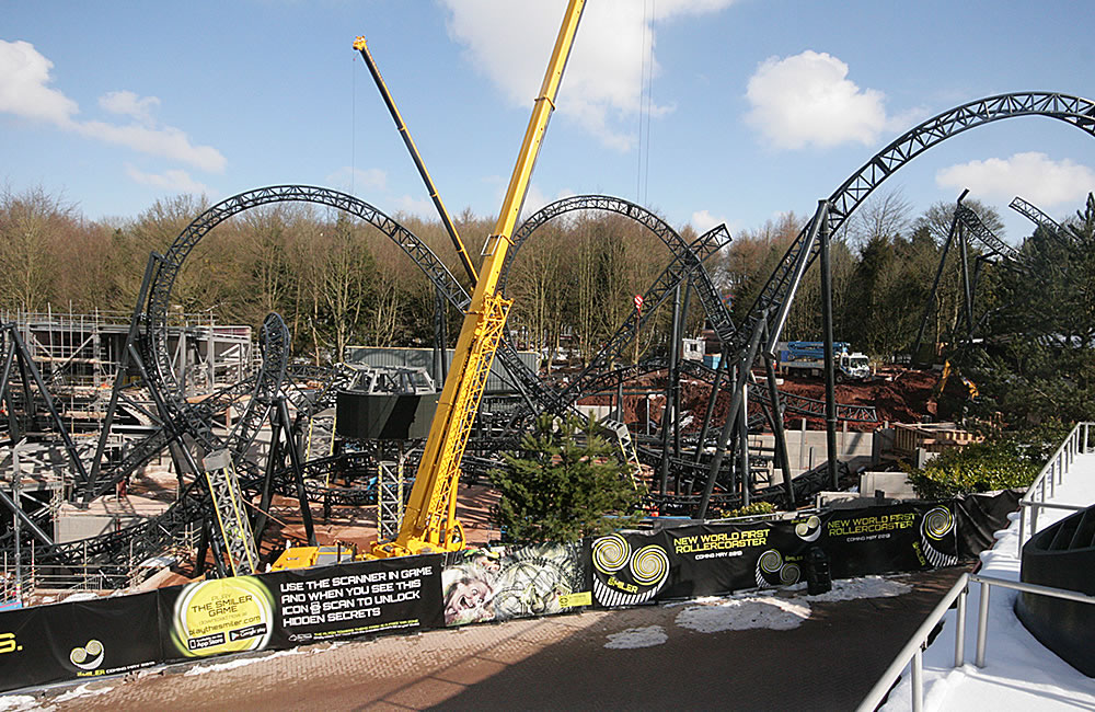 The Smiler rollercoaster being constructed at Alton Towers