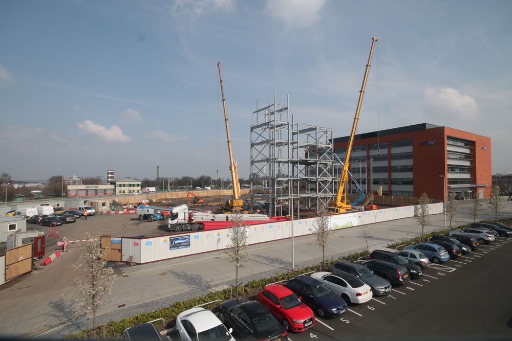 Steel erection at The West Brom building society headquarters build in West Midlands
