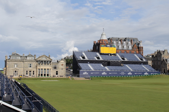 GL events' completed grandstand at St Andrews Links for The 144th Open Championship of golf