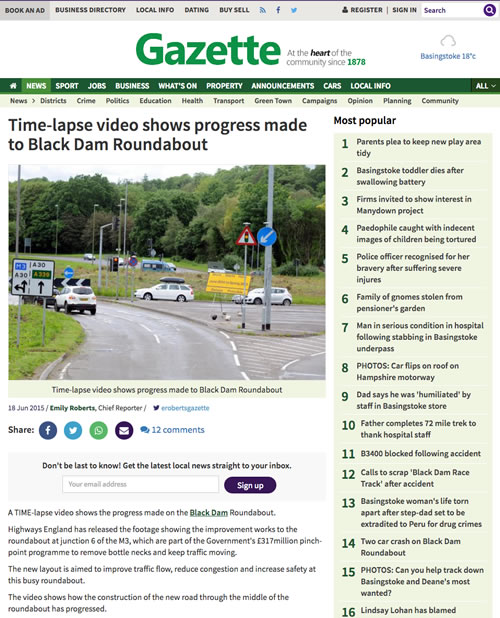 Time lapse video shows progress made to Black Dam Roundabout From Basingstoke Gazette