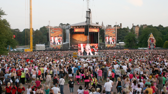 Pink performing on-stage at her summer concert at Alton Towers, Staffordshire