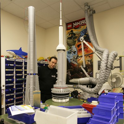 CN Tower Lego model under construction in the workshop at Legoland Windsor