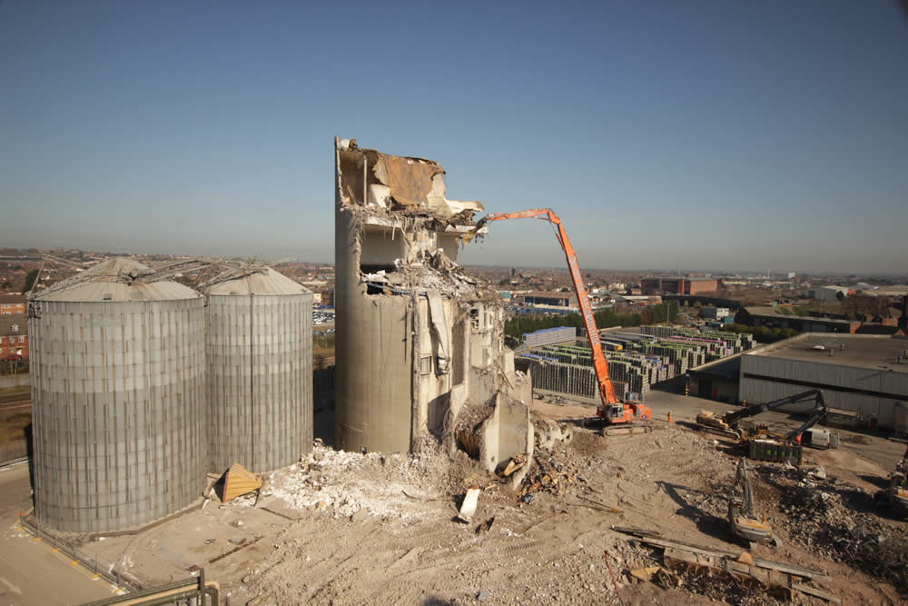 Demolition work of a tower at Molson Coors