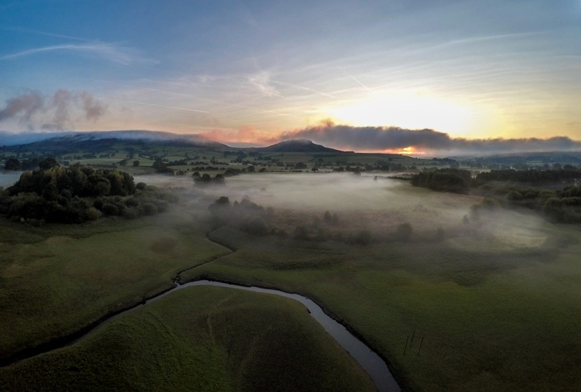 Beauty shot of the countryside from a drone