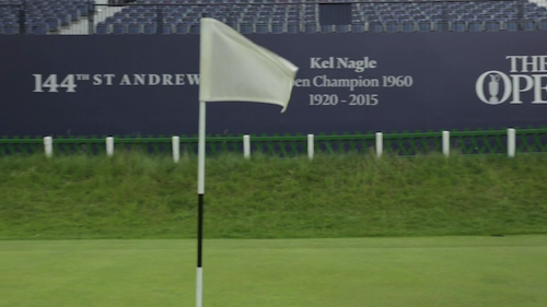 Video still of a flag at St Andrews