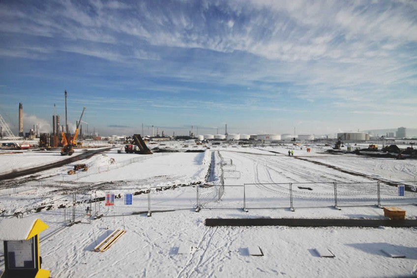 Snow scene at Air Products Tees Valley