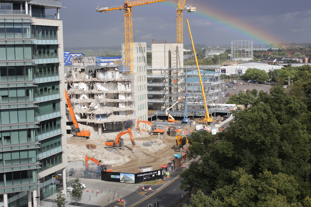 Rainbow over Forbury Place in Reading