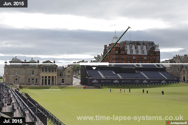 Before and after shot from St Andrews grandstand erection