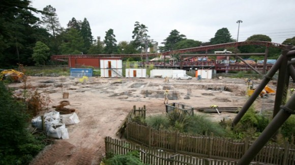 Start of Th13teen rollercoaster construction at Alton Towers