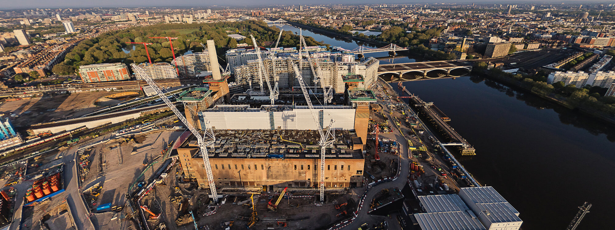 Aerial view over Battersea Power Station