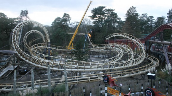 Corkscrew rollercoaster at Alton Towers being dismantled