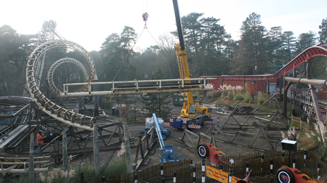 Corkscrew rollercoaster at Alton Towers during the final stages of being dismantled
