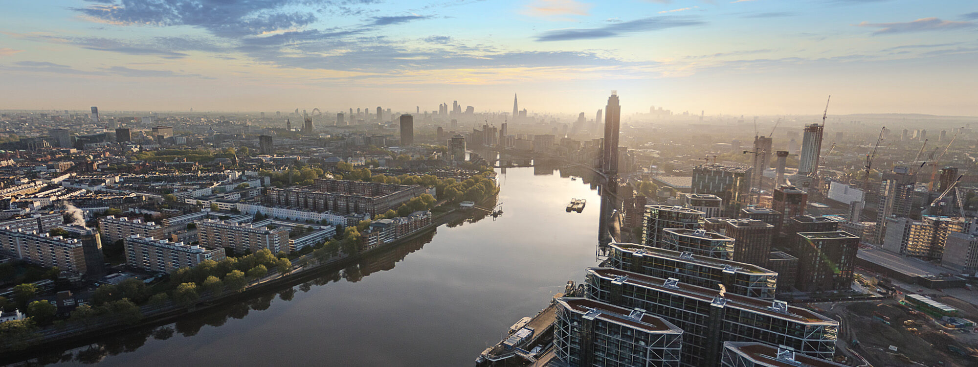 Aerial shot over Nine Elms, London
