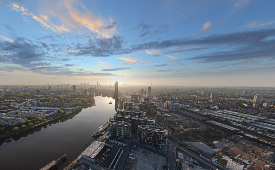 Aerial view across Riverlight at Nine Elms