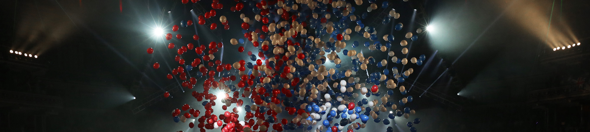 Balloons fall from the ceiling at the Royal Albert Hall