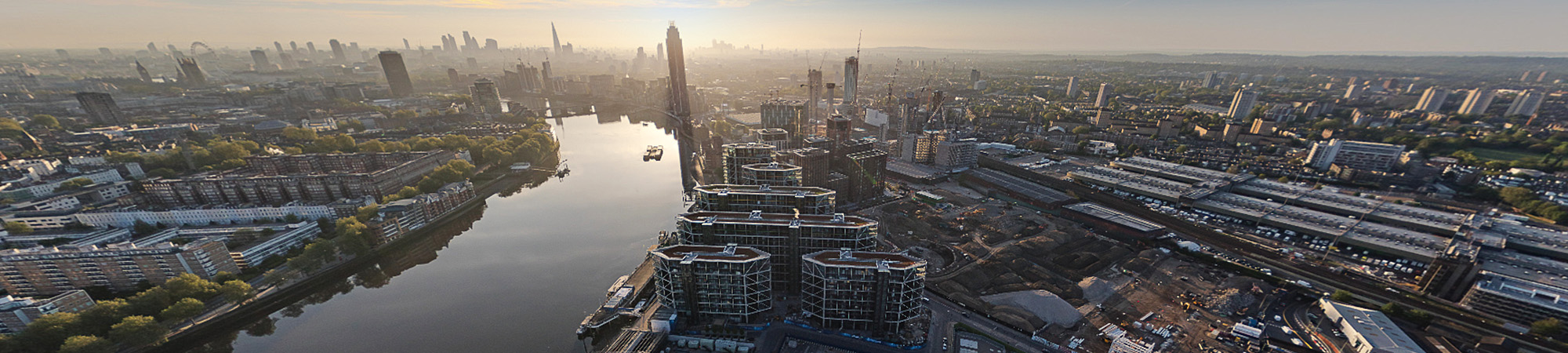 Drone shot looking across London towards the financial district