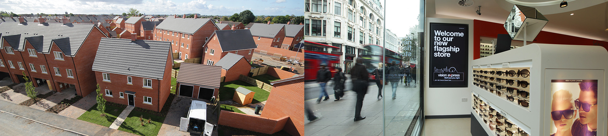 Side-by-side time-lapse images from housing and retail projects