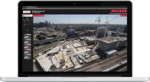 Laptop displaying a major construction site through the iRis 4.0 viewing portal