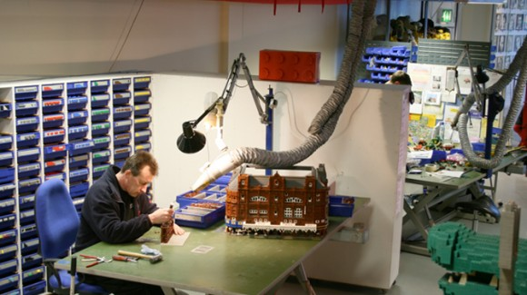 Working on the Midland Hotel scale-model Lego build