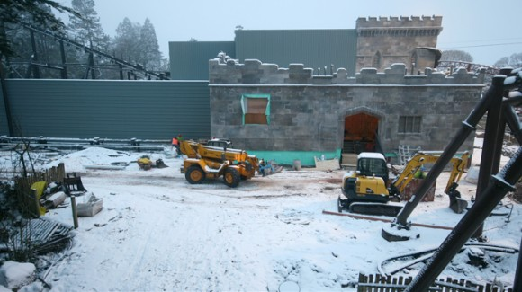 Snowfall during the construction of Th13teen at Alton Towers