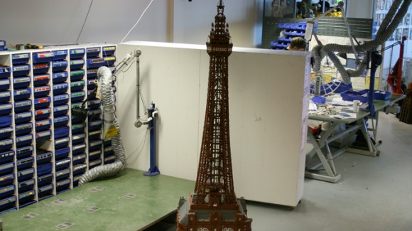 The completed Blackpool Tower scale-model Lego build at Legoland Windsor