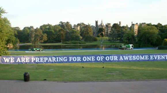 Preparing the stage at Alton Towers for a Pink concert