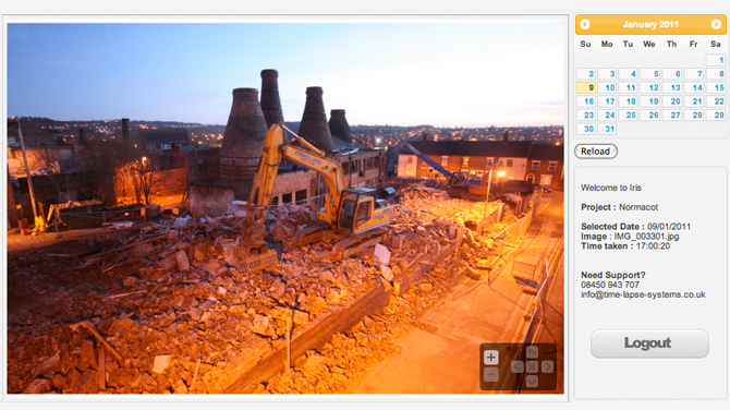 iRis screenshot of Normacot demolition works at night