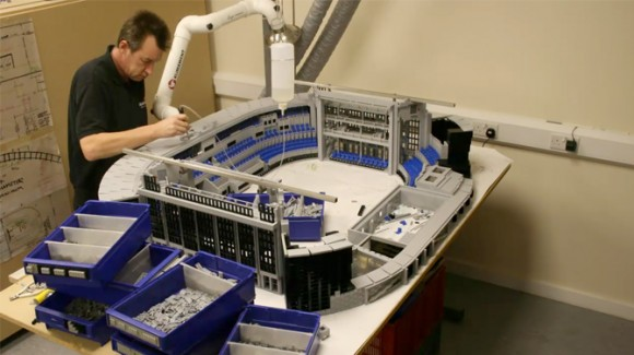 Building Lego Dallas Cowboys Stadium nearing completion
