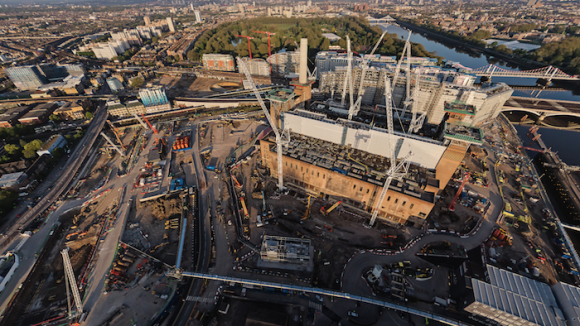 Drone shot overlooking Battersea Power Station and 101 Prince of Wales Drive