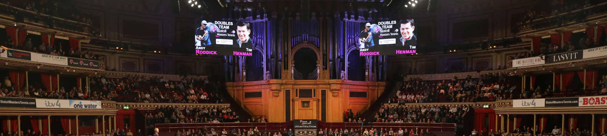 The scoreboards on the Champions Tour at the Royal Albert Hall