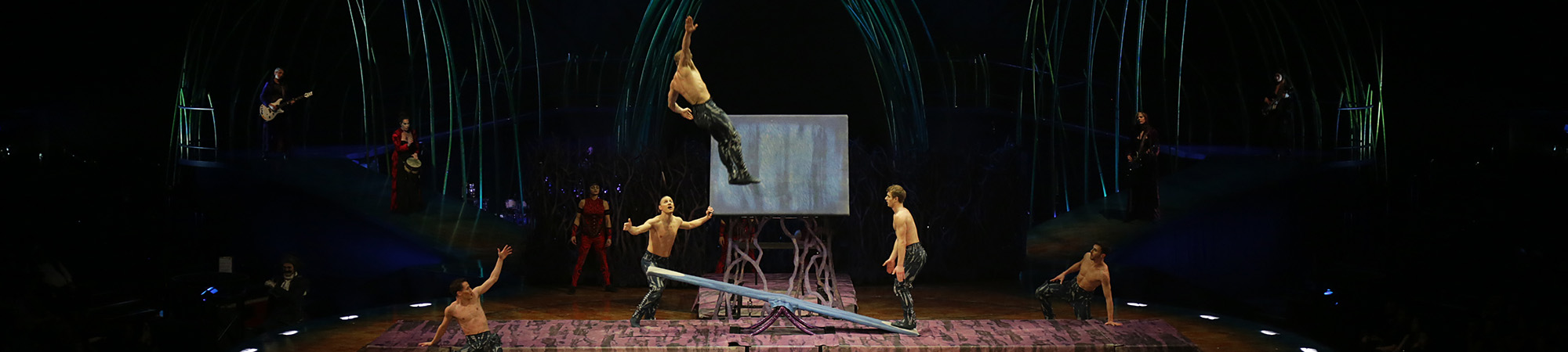 Performers on stage for Cirque Du Soleil at the Royal Albert Hall