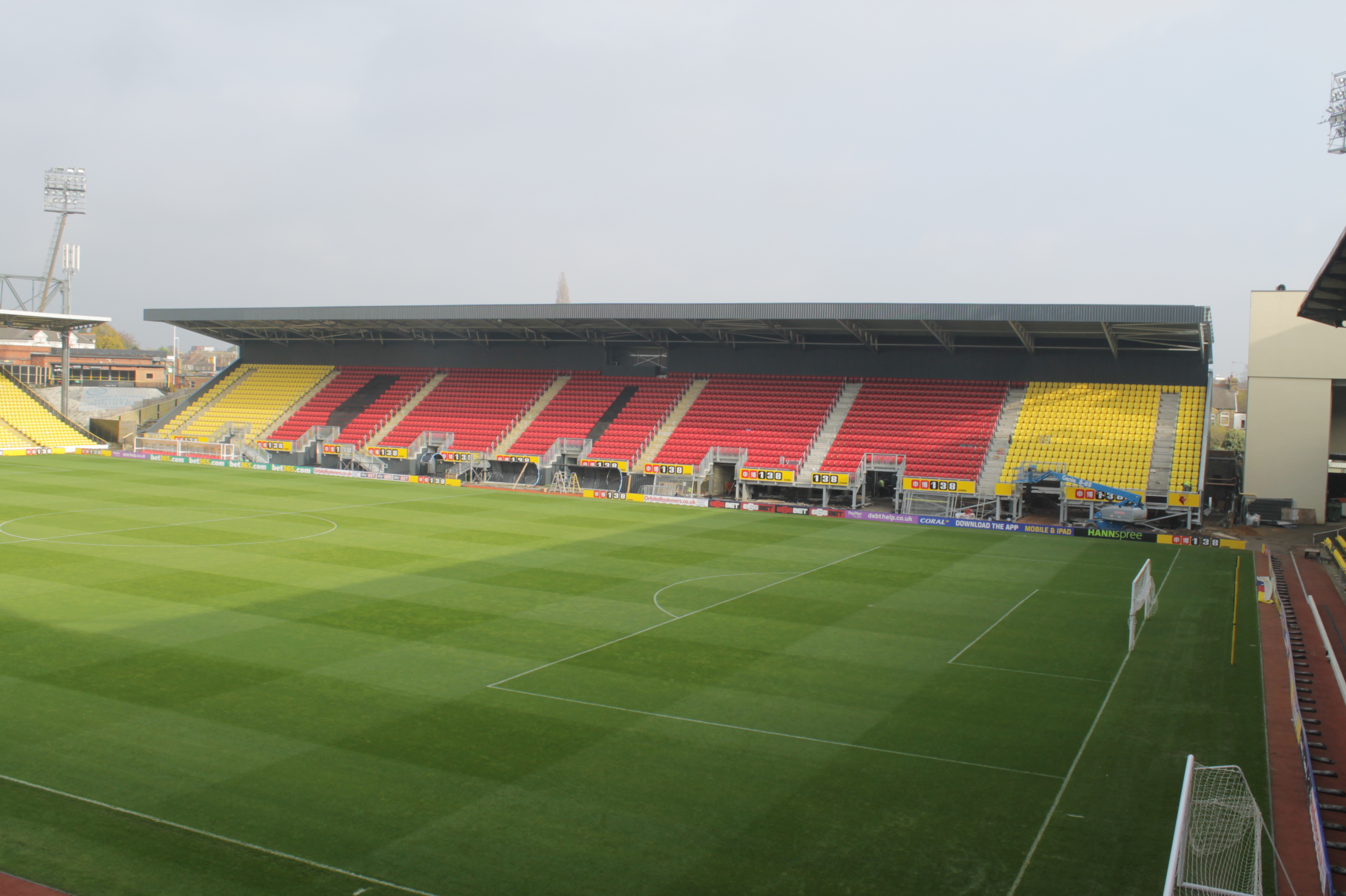 The completed Sir Elton John Stand at Watford Football Club's Vicarage Road
