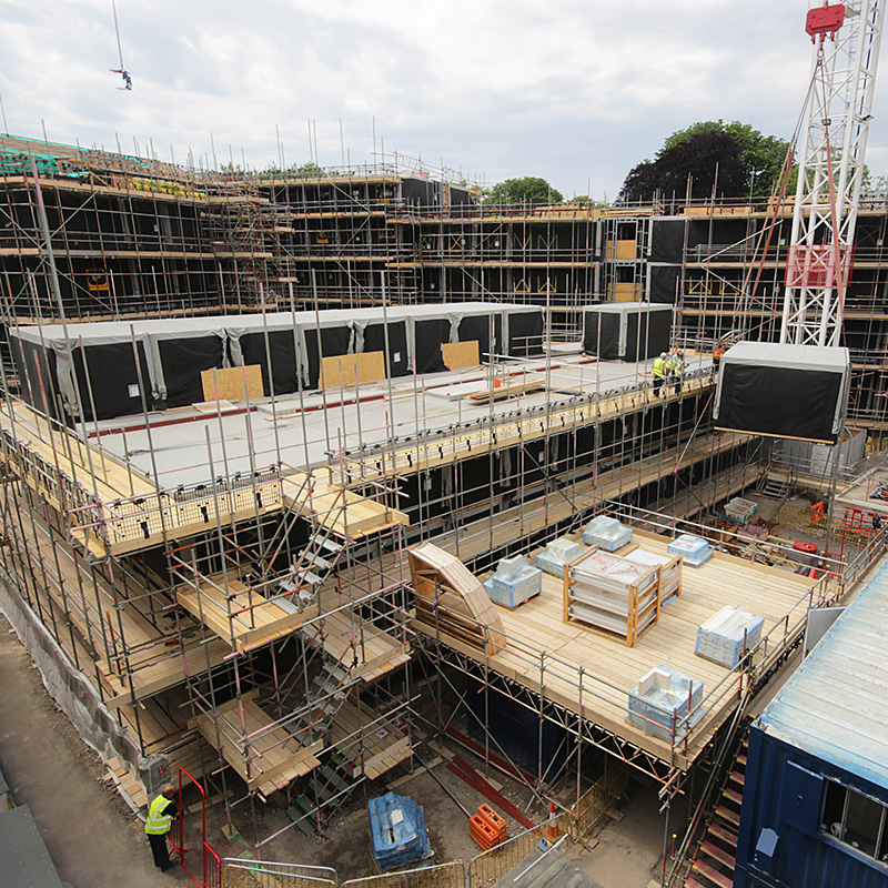 Modular student accommodation build in Bath called Green Park House