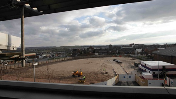 Installation at new Hanley bus station Vinci construction site in Stoke