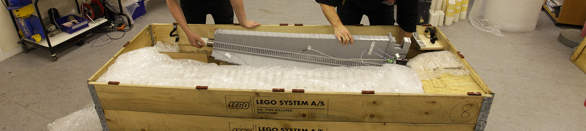 CN Tower lego model being packaged for transportation