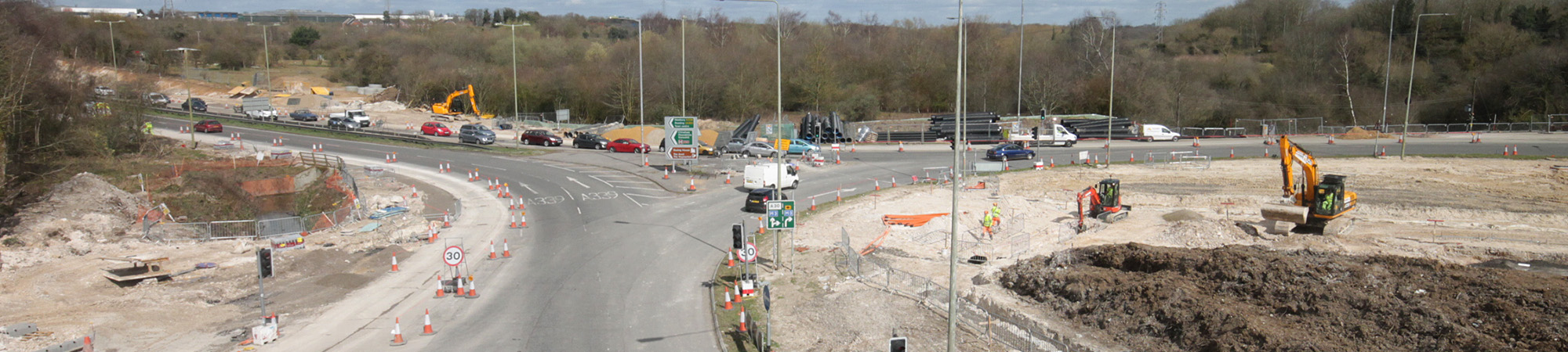 Wide shot of junction improvement works near the M3