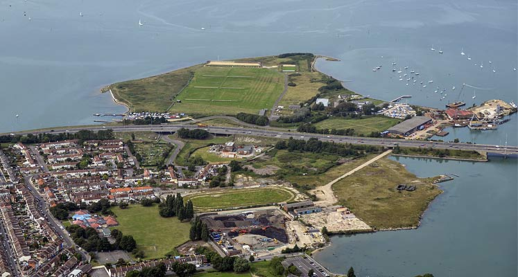 Aerial image overlooking the Tipner Park and Ride development