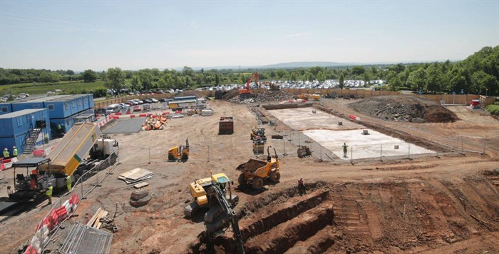 Hospital Construction time-lapse at NHS Worcestershire Oncology Centre build