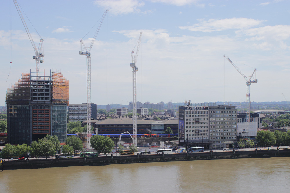 Cranes working over Albert Embankment at Nine Elms