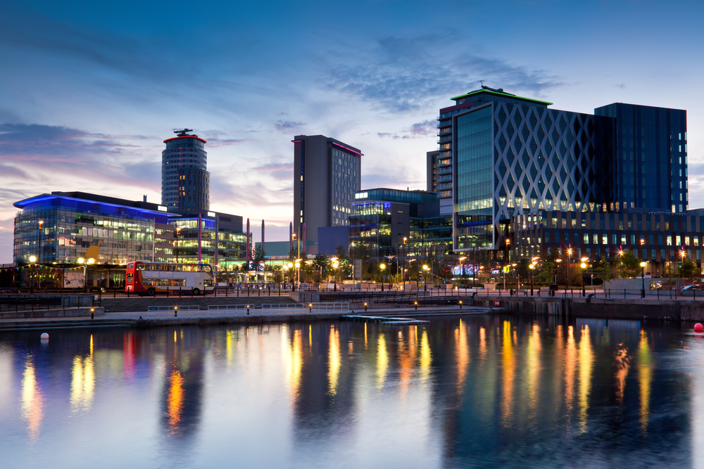 Manchester Ship Canal at night
