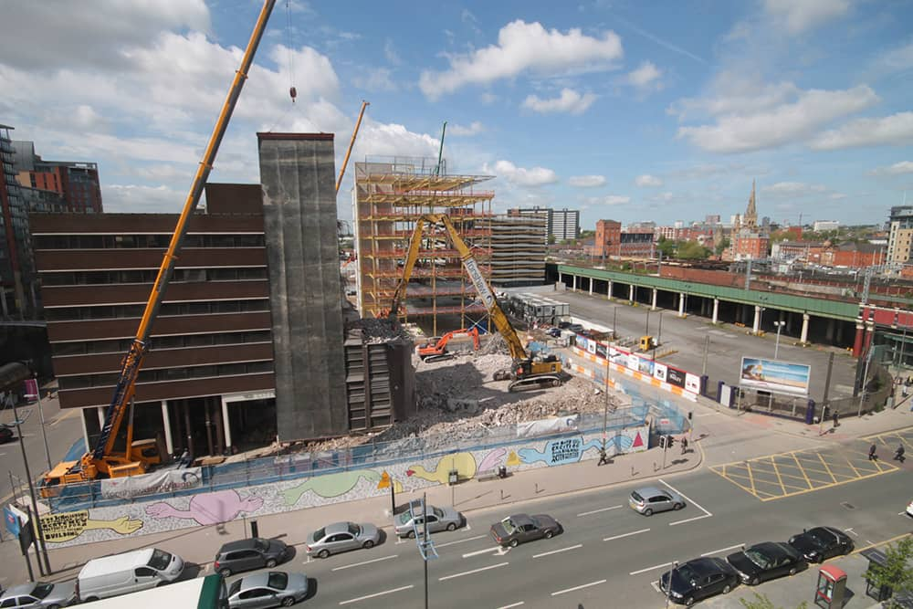 Demolition for New Bailey construction in Manchester