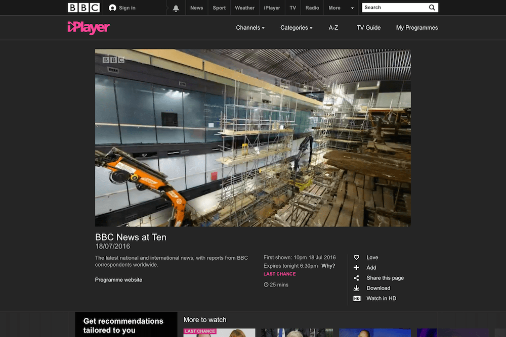 Screenshot of Time-Lapse Systems' Mary Rose footage on the BBC iPlayer