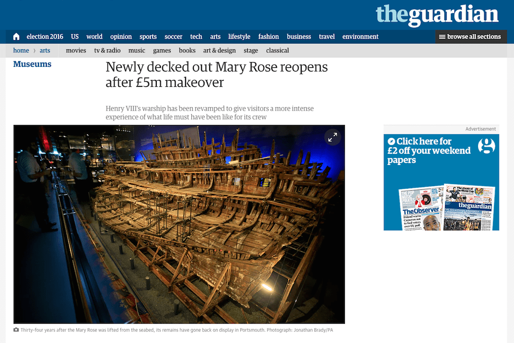 Screenshot from The Guardian website showing Time-Lapse Systems' camera in situ at the Mary Rose Museum
