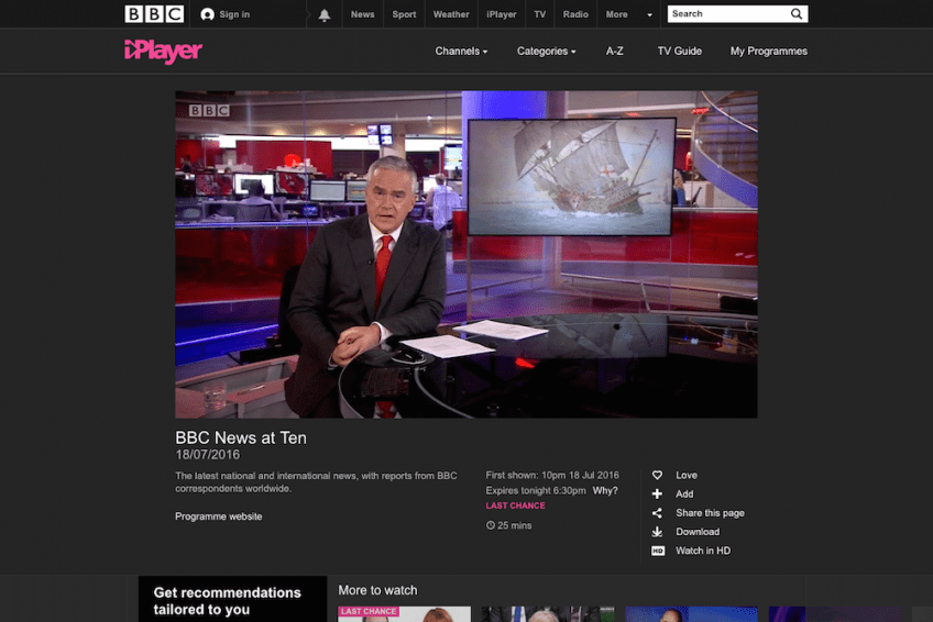 Huw Edwards introducing the Mary Rose project on the BBC News at Ten